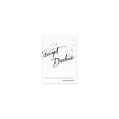 Splatter Reply Card / Stationery / Splatter / Letterpress / Black & White / Anne Robin Calligraphy / Custom / Modern / #myownblissandbone