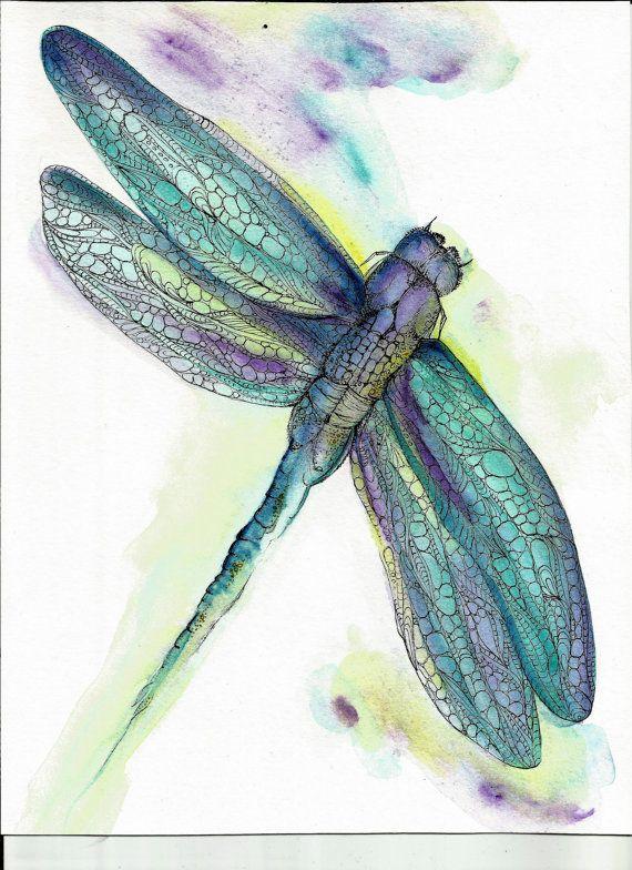STUNNING!!! Dragonfly Art Print 8 x 10 Watercolor Original Art