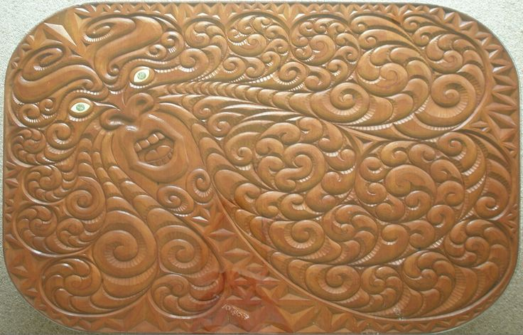 Tawhirimatea ~ Maori God of the Wind and storms. Carved on a kauri table by Steve Wharehoka in the late 1980s. Tawhiri-Matea was the most like his sky father. He listened to no one and he needed no one to talk to. He was the brother no one trusted. One moment he would be quiet and the next minute he would leap up and tear around the world wrecking things as he went. It was his nature to be unpredictable. He came and went as he pleased.