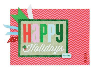 "Red Chevorn ""Happy Holiday"" Christmas Card: Scrapbook Ideas, Crafts Ideas, Christmas Wint Cards, Cards Mak, Cards Mambi, Christmas Cards Ideas, Red Chevron, Happy Holidays, Crafty Ideas"