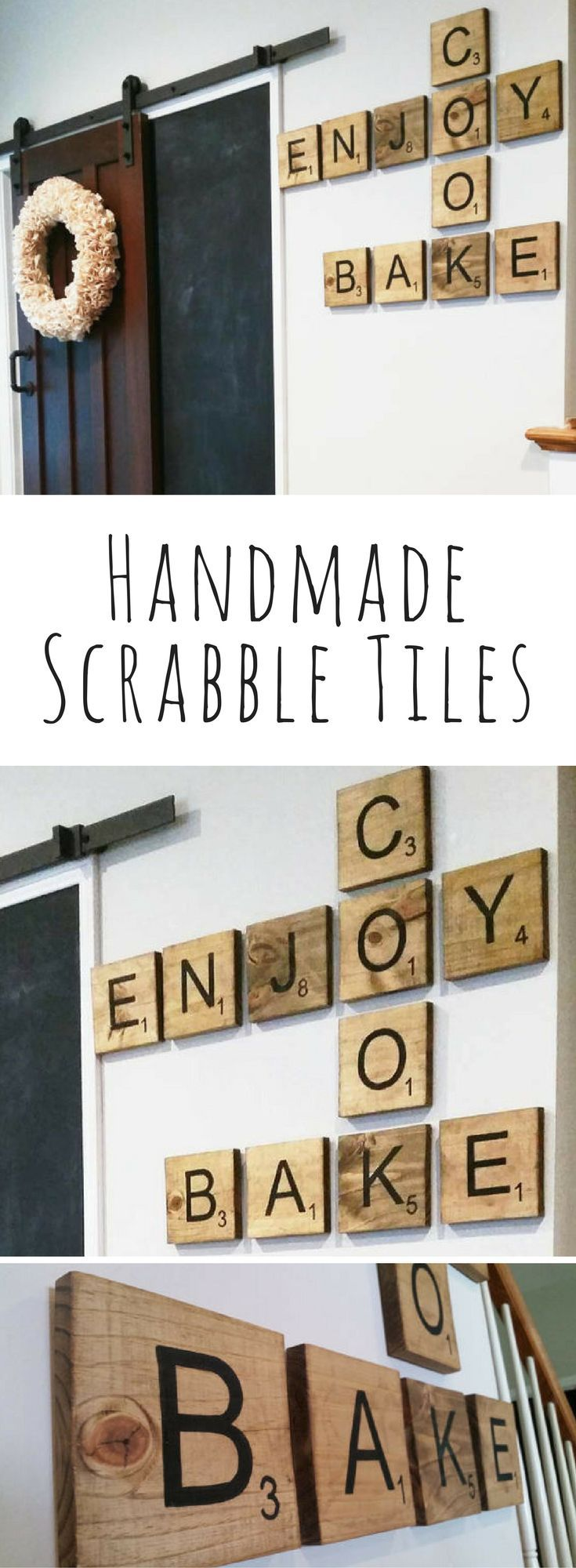 Handmade Scrabble Tiles with Point Value, Board game wall art, Rustic decor, kitchen decor, bedroom decor, living room decor, rustic wall art, farmhouse decor #ad