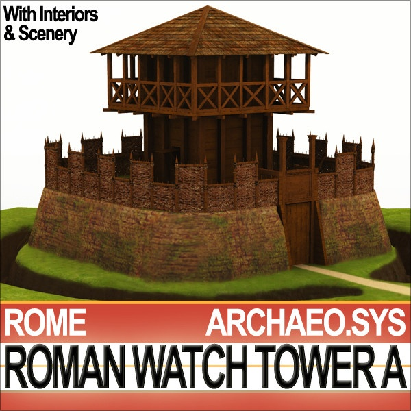 Ancient Rome Watch Tower A, burgus, as used in frontier system of Empire, to patrol roads. Scenery and Interiors 3D Models, 56 Textures. HiDetails. Faithful accurate Reconstruction. C4D, 3DS, OBJ from VUE6 to VUE10.