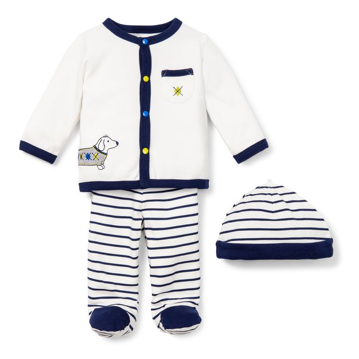 Dashing Dachshund 3 Piece Take Me Home Set- a luxe layette take me home outfit for the baby with extra style