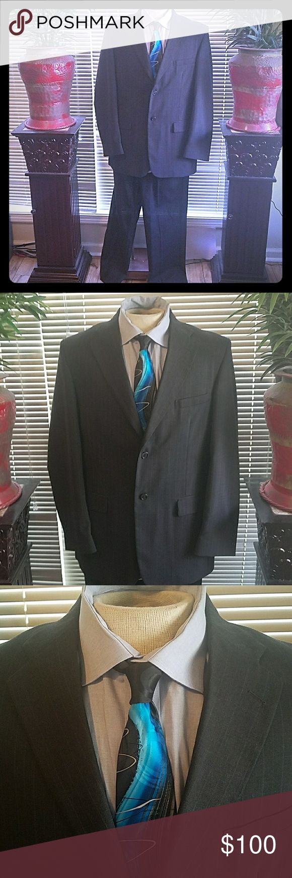Complete Mens TowneCraft Suit (42L)RLaurenShirt(L) This is an excellent gently used entire towncraft men's gray pinstripe (maroon and white stripes that are very subtle) suit size 42L (Approx 36/32-34 Pants) in excellent like new condition. It has a Ralph Lauren classic fit non- iron 17 1/2 neck-32/33 sleeves and a J Garcia tie. It is from a pet free and smoke-free home. This is excellent for the businessman or church. TowneCraft Suits & Blazers Suits