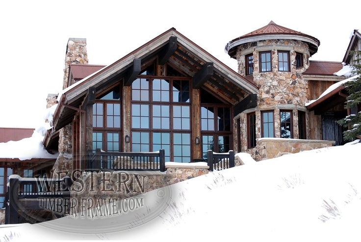 Stone And Timber Mansion With Black Timber Trusses And