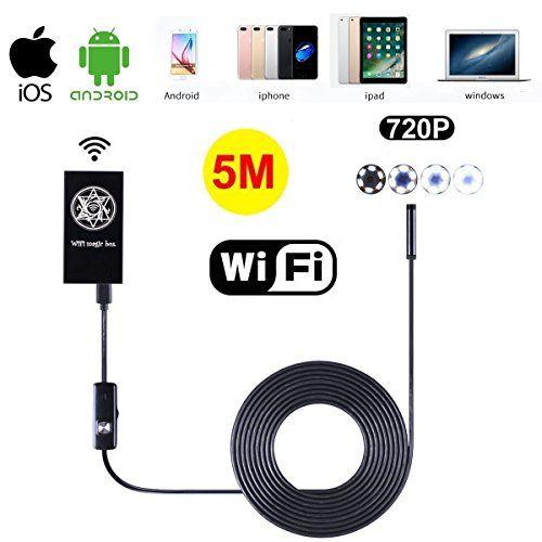 Inalámbrico Wifi Endoscopio, SGODDE IP66 impermeable cámara de inspección boroscopio 6 Leds 7 mm serpiente tubo para todos los modelos de iPhone / Android teléfonos / Tabletas / portátil con función WIFI 5M #Inalámbrico #Wifi #Endoscopio, #SGODDE #impermeable #cámara #inspección #boroscopio #Leds #serpiente #tubo #para #todos #modelos #iPhone #Android #teléfonos #Tabletas #portátil #función #WIFI