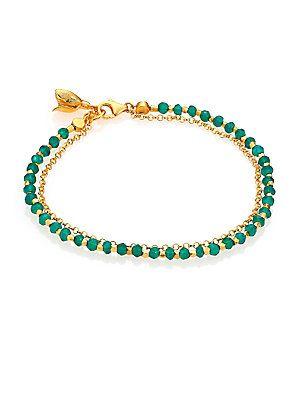 Astley Clarke Biography Green Agate Beaded Flower Charm Friendship Bra