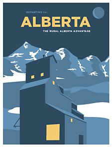 Rural Alberta Advantage posters styled after vintage travel ads.
