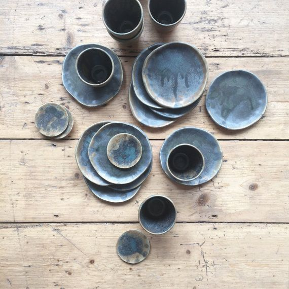 Small Blue Charcoal Plates by IllyriaPottery on Etsy