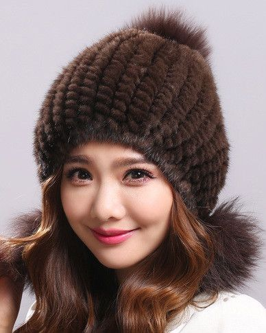 Real mink fur hat autumn winter black/white/gray ladies