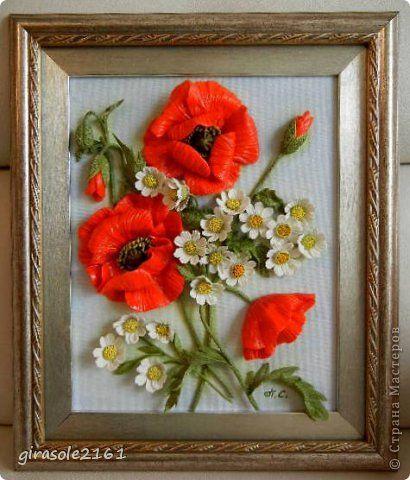Картина панно рисунок Лепка Летний букет МАКИ И РОМАШКИ   Объемная картина  Фарфор холодный фото 1