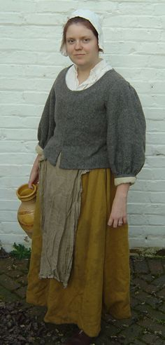 17th century waistcoat, with more pictures, research, and construction. This is a perfect example of the dress of the common woman during the Civil War period.