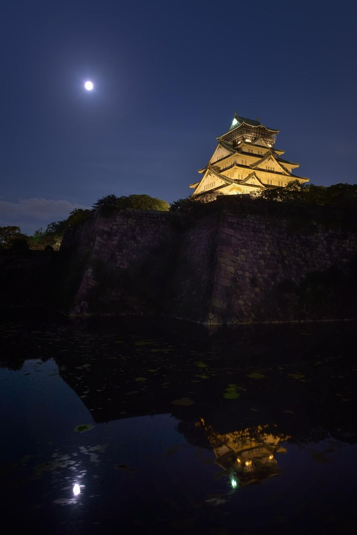 大阪城 夜景/the harvest moon, Osaka-Castle, Japan