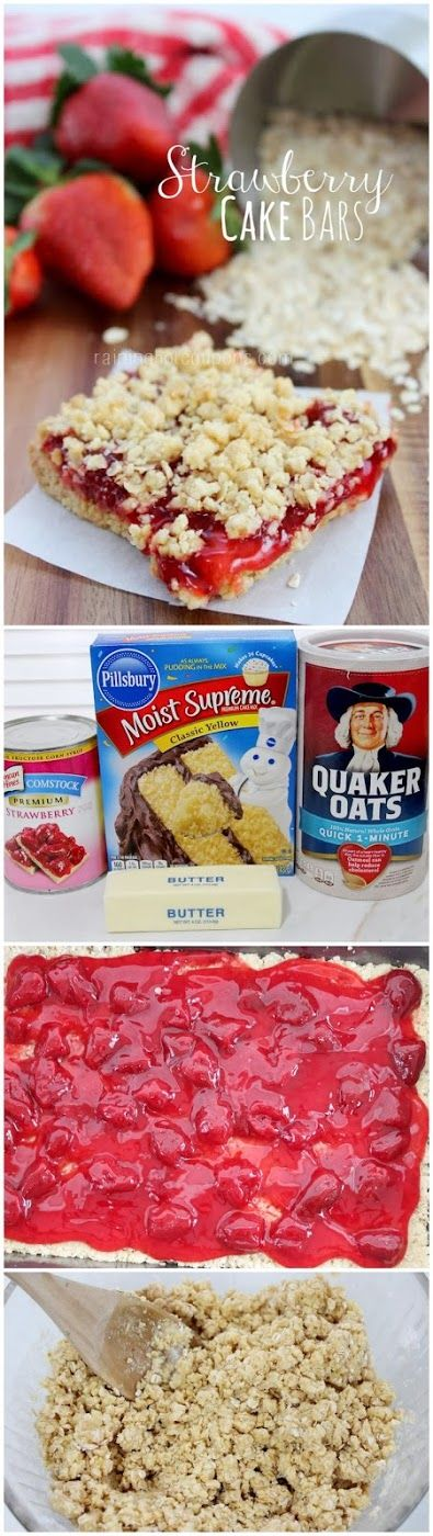 1 box Yellow Cake Mix  2 1/2 cups Quick Oats  3/4 cup melted Butter  1 can Strawberry Pie Filling or any kind Preheat the oven to 375.  Spray a 9x13 inch pan with non-stick spray.  Mix together oats, cake mix, and melted butter until it there is no more dry mix.  Press 1/2 of this mixture evenly into the bottom the prepared pan.  Spread pie filling evenly over the crust.  Sprinkle the remaining oat mixture on the top evenly.  Bake 18-23 minutes or until the top is lightly browned.