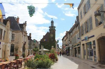 Le centre piétonnier de Nuits Saint Georges, en Bourgogne ; bars à vin, restaurants bourguignons vous attendent !
