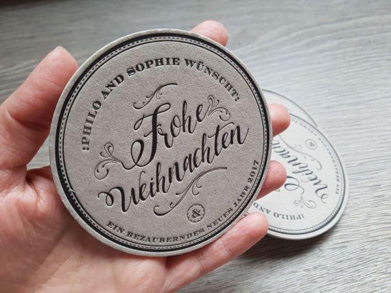 100 Custom letterpress round coasters by FunkyPrintStudio on Etsy