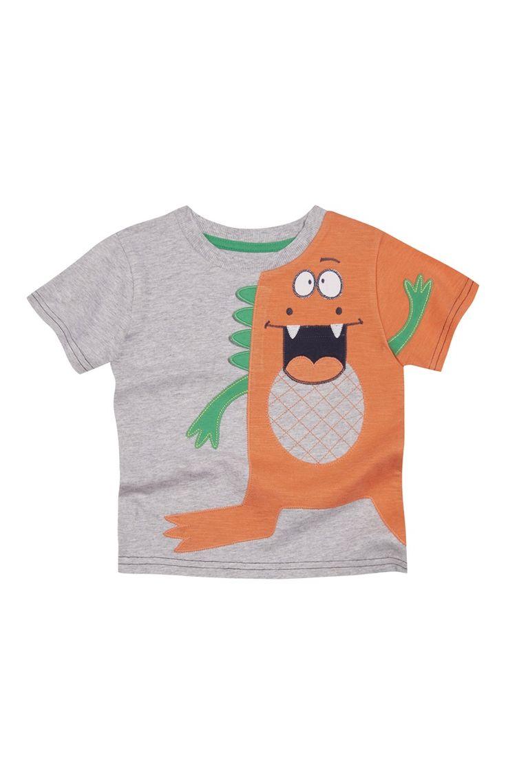 Primark - Grey Dinosaur Print T-Shirt