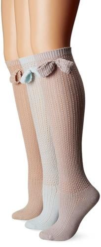 Other Womens Hosiery and Socks 11523: Muk Luks Women S 3 Pair Pack Pointelle Bow Knee High Socks -> BUY IT NOW ONLY: $33.81 on eBay!