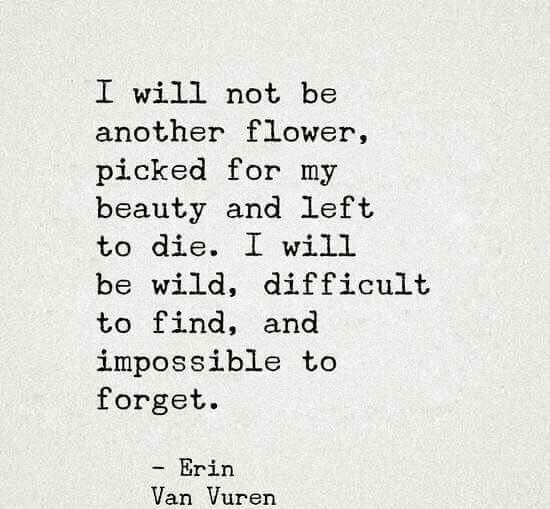 --I will be wild, difficult to find, and impossible to forget.-- Erin van Vuren