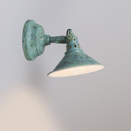 Aplique RUST verde envejecido - Fantástica lámpara de pared de aspecto industrial y antiguo. Es orientable. Este magnífico aspecto sólo se puede conseguir con un trabajo hecho a mano. También se puede usar como plafón.