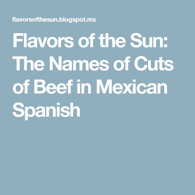 Flavors of the Sun: The Names of Cuts of Beef in Mexican Spanish