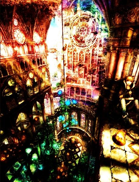 ___ ENHANCED VERSION ___ hiding in the cathedral ,anime ,landscape ,manga ,art ,fantasy ,city ,cityscape
