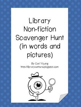 Non-Fiction Library Scavenger Hunt Cards - Library Centers - TeachersPayTeachers.com