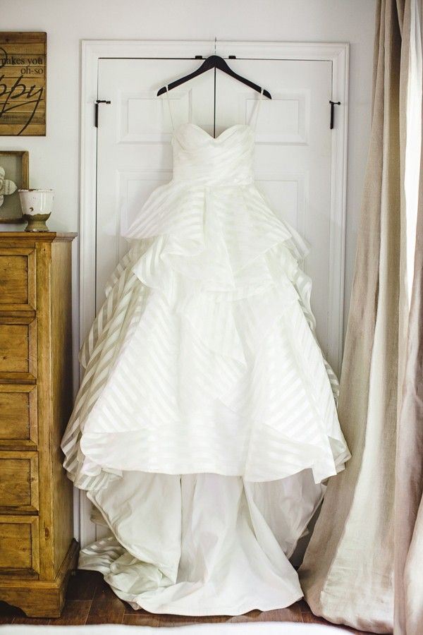 Hayley Paige stripped wedding gown Anna Paschal http://southernweddings.com/2016/09/07/summerfield-farm-wedding-by-leigh-pearce/