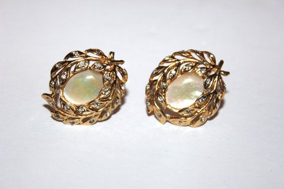 Womens Vintage Golden Earrings, Fifth Avenue Collection, Butler, Signed, Mother of Pearl, Rhinestone, Costume Jewelry on Etsy, $28.03 CAD