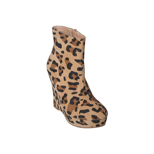 Journee Collection Women's Journee Collection Whisper-09 - Leopard... (£32) ❤ liked on Polyvore featuring shoes, boots, ankle booties, leopard, wedge ankle boots, leopard print wedge bootie, leopard boots, wedge ankle booties and wedge booties