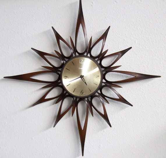 STARBURST Wall Clock Mid Century Danish by PeacockVintageModern, $125.00