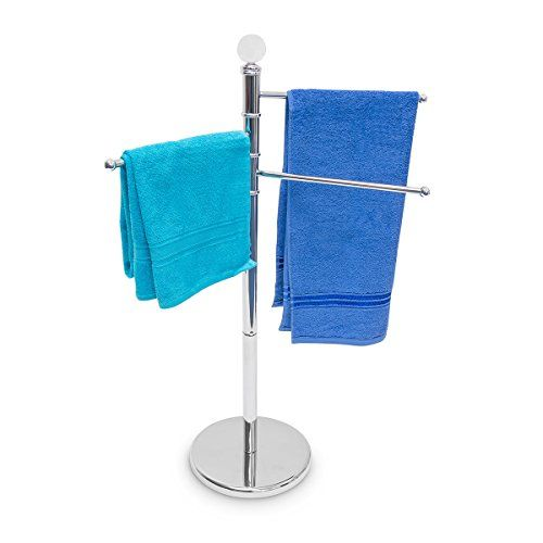Relaxdays Hand Towel Stand Stainless Steel H Cm   Cm With 3 Pivotable Arms Arm Length 33 FreeStanding Metal Holder U0026amp Clothes