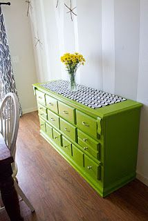 Lime green dresser - Painting furniture without sanding.