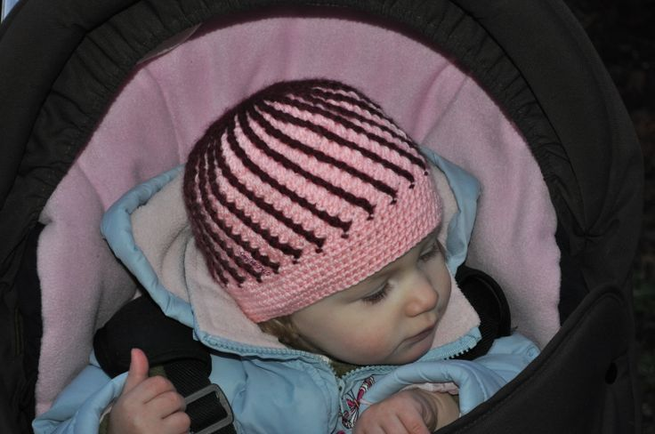 Pink crocheted cap with purple stripes 2014/2