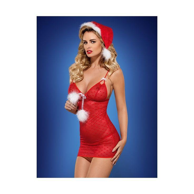 Kostiumy i przebrania erotyczne - Seksowny kostium mikołajki z odpinanymi elementami Obsessive http://sexshop112.pl/87-kostiumy-przebrania-erotyczne