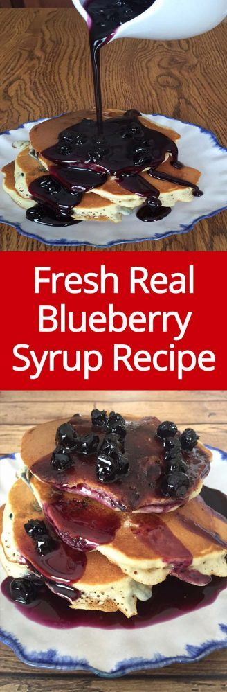 Homemade Blueberry Syrup Recipe - easy to make, amazing on pancakes and ice cream! | MelanieCooks.com