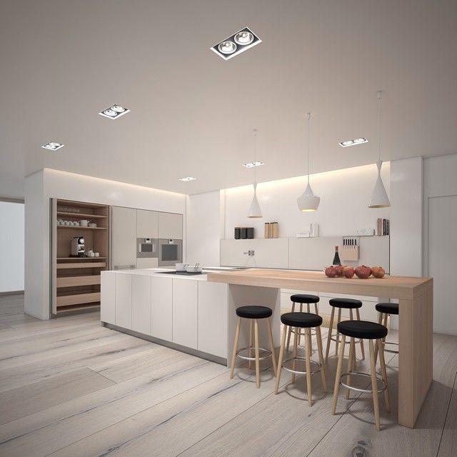 Grande #cuisine #ouverte #blanc et #bois ! #déco #inspiration #style http://www.m-habitat.fr/penser-sa-cuisine/materiaux-cuisine/les-cuisines-laquees-1408_A
