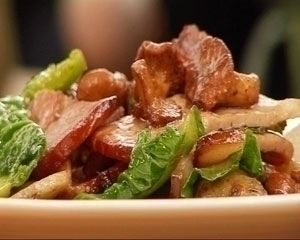 Sautéed bacon, new potatoes and spring greens recipe