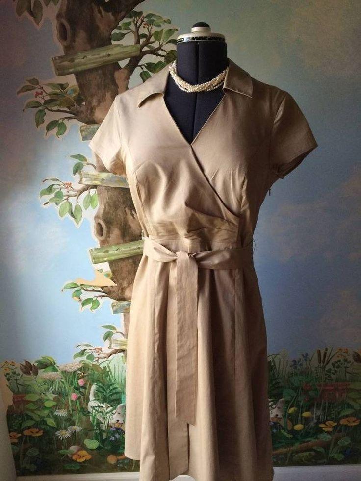 Jones New York Collection Petite Women Tan Short Sleeve Dress SZ 14 #JonesNewYork #WeartoWork
