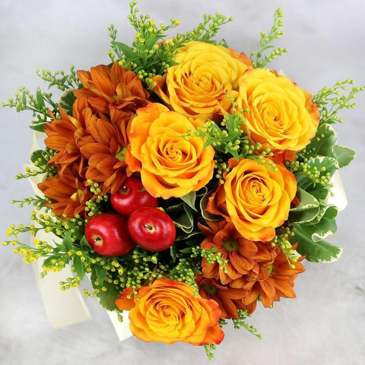 """Букет из роз и хризантем. В конусе. """"Осенняя карамель"""""""