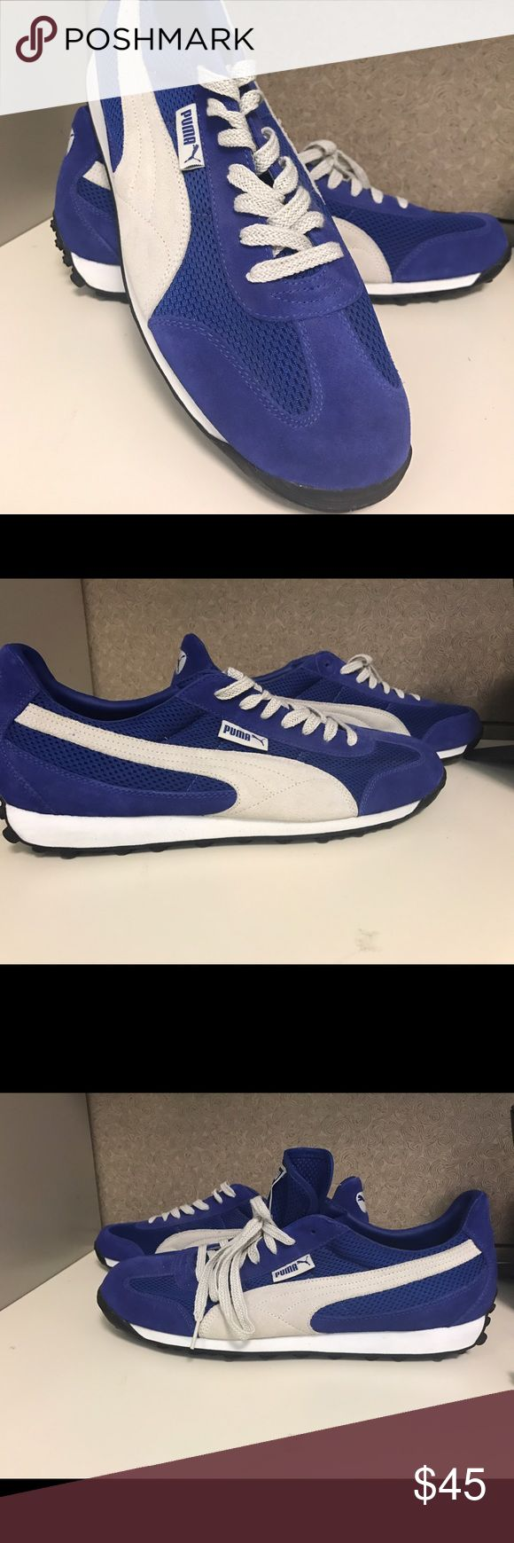 Vintage Puma Royal Blue and Gray Sneakers Men's Vintage Puma Royal Blue and Gray Puma Sneakers   New-never been worn.  Classic old school suede & mesh Puma's.  Size 12 Puma Shoes Sneakers