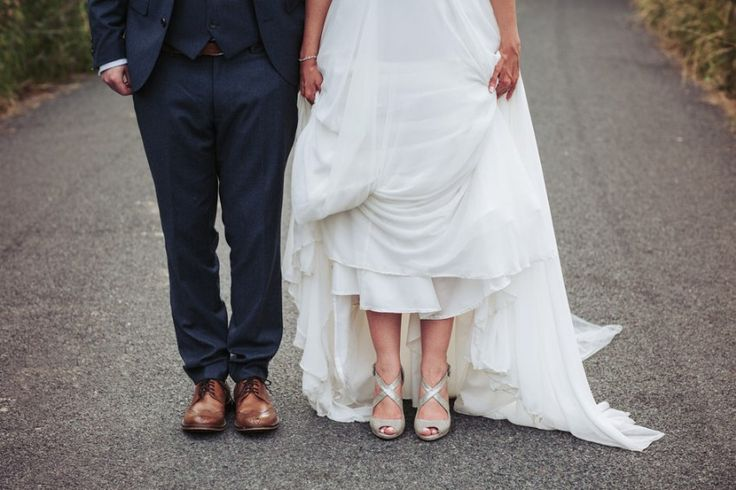 Bride wears sliver shoes and groom wears brown brogues |Yorkshire wedding photography | Fox Tail Photography