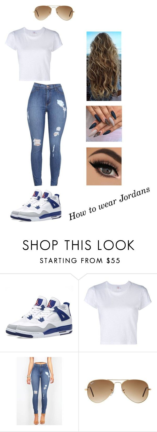 """""""How to wear Jordan's"""" by saisai13 on Polyvore featuring NIKE, RE/DONE and Ray-Ban"""