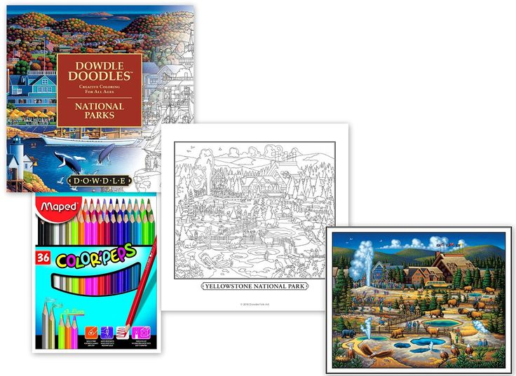 Amazon Dowdle Doodles Large National Parks Coloring Book Maped ColorPeps Colored Pencils