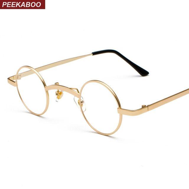 150eac99e8a2 Peekaboo small round eyeglasses frames men vintage 2018 silver gold mens  womens nerd glasses clear lens eyewear unisex Review