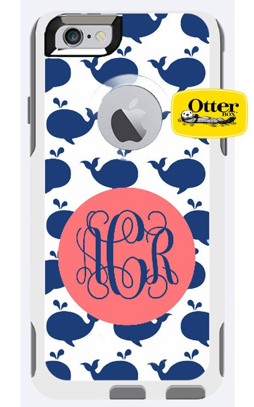 Monogrammed OtterBox Defender Phone Case, Personalized OtterBox, iPhone 6 & 6 Plus, iPhone 5/5S, iPhone 5C, iPhone 4/4S, Galaxy s5, Whale by TheGiftingSpot on Etsy https://www.etsy.com/listing/227863473/monogrammed-otterbox-defender-phone-case