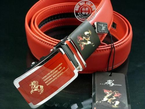 Men's leather belt red 130 cm Luxury men's quality of workmanship belt is perfect and the men's supplement should not miss any men there where he not only your personality, but also image. belt length: 130 cm belt width: 3.5 cm belt thickness: 0.4 cm staple length: 8cm buckle width: 4 cm