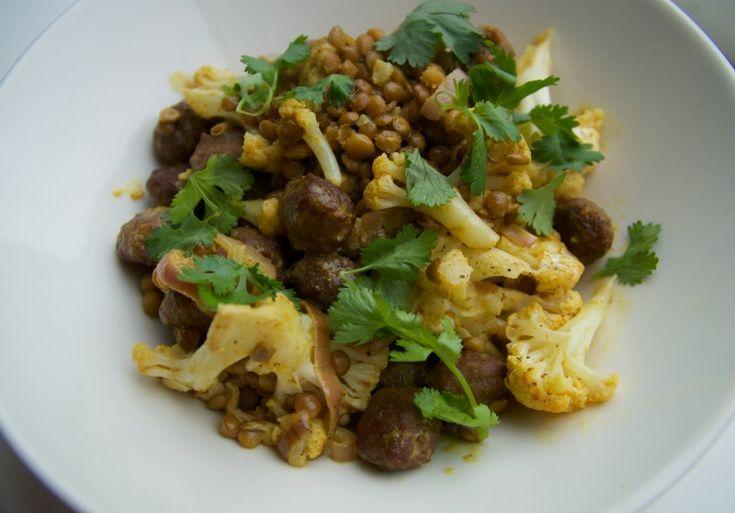 Recept: Bloemkoolcurry met linzen en gehaktballetjes
