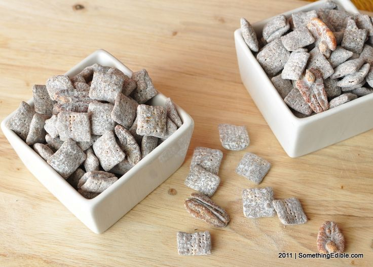 Variation on a homemade snacking standard: Mexican Chocolate Puppy Chow.