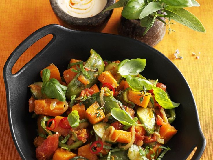 Veganes Kürbis-Ratatouille |Kalorien: 169 Kcal | http://eatsmarter.de/rezepte/kuerbis-ratatouille